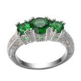 Moda Jóias Populares 925 Sterling Silver Three Stone Emerald Wedding Piercing Ring for Women Girls