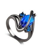 Marquise Romântica Mulheres Elegantes Cut Small Sapphire Embedded Zircon Twist Finger Ring Wedding