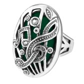 New Fashion Retro Oval Big Stone Ring Notação de música Carved Punk Gorgeous Vintage Jewelry