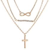 Mode Tempérament Multi-couche Perles Croix Pendentif Collier Alloy Clavicule Chaîne Femmes Bijoux