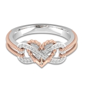 Shape of Love Heart Diamond Ring Golden Fashion Anelli di cristallo Gioielli per gli accessori da sposa per le feste di donne e ragazze