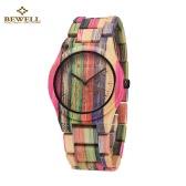 BeWell Hipoalergênico Environmental Friendly Bamboo madeira Assista Imaculada elegante Quartz Analog Unisex relógio de pulso