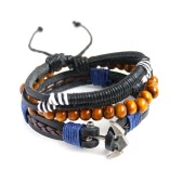 Fashion Bohemian Multi-layer Alloy Wooden Beads Braided Bracelet for Men and Women