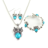 Fashion Retro Bohemian Style Sowa Elephant Three-pieces Bracelet Earrings Necklace Jewelry Set