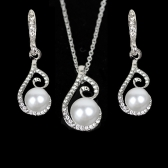 New Water-drop Pearl Rhinestone Necklace Earrings Jewelry Set for Party Wedding Bridal Accessory