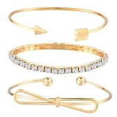 Fashion Simple 3Pcs Set Bracciale Arrow Bowknot Lettere Foglia Ananas Piuma Embedded Diamond Bracciali donna