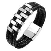 Moda Punk Rock Mężczyźni bransoletka Titanium Mankiet ze stali nierdzewnej Bransoletka Braid Rope Wrist Chain Jewelry