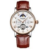 KINYUED JYD-J029 Mężczyźni Wrist Watch Automatyczny Mechaniczny Zegarek Skórzany Pasek Faza Księżyca luminous Self-Wind Band z szkatułce