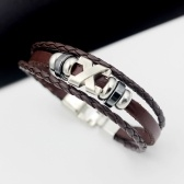 Fashion Multi-layer Leather Rope Alloy Pendant Bead Woven Bracelet Casual Style for Male and Female