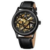 Montre mécanique automatique pour homme 3ATM montre-bracelet étanche avec bracelet de montre en cuir véritable bracelet multifonction montre-bracelet 3ATM affichage lumineux chronographe