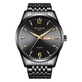 WLISTH S946 Classic Stylish Men Quartz Wrist Watch Multifunctional Business Casual Watch with Luminous/Dual-calendar Display 30M Waterproof Stainless Steel/Leather Strap