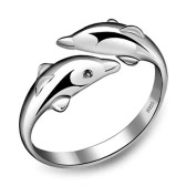 Cute Happiness Double Dolphins 925 Silver Plated Ring Fashion Jewelry Opening Adjustable Couple Ring