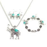 Fashion Retro Bohemian Style Owl Elephant Three-pieces Bracelet Earrings Necklace Jewelry Set