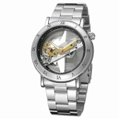 FORSINING Luxury Skeleton Automatic Mechanical Men Watch Automático Viento Acero Inoxidable / Cuero Genuino Hombre Business Reloj de Pulsera + Caja