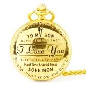 Моему Сыну, Я Люблю Тебя Ретро Серии Карманные Часы Кварцевые Часы Кулон Ожерелье Цепочка Лучший Рождественский Подарок для Детей