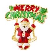 メリー クリスマスの手紙サンタ クロース ブローチかわいいスカーフ バックル首輪クリップ ピン服アクセサリー新年休日ギフト装飾ファッションジュエリー