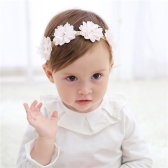 Cute Pink Bow Flower Lace Baby Hairband Elastic Confortável para Infant Child Headband