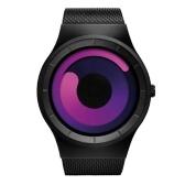 Geekthink 6002 novo relógio de quartzo de aço inoxidável de luxo cinto de malha homens e mulheres presentes legal cinta de aço relógio de pulso com mostrador giratório