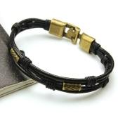 Mode-Multi-Layer-Leder Seil Legierung Anhänger Bead Woven Armband Casual Style für Männer und Frauen