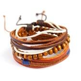 Bracciale intrecciato in perline di legno in lega multi-strato di moda