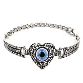 Fashion Personalized Heart-shape Embedded Blue Eye Bracelet Vintage Carving Pattern Metal Bangle Bohemia Wrist Decoration Gift