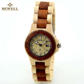 BEWELL High Quality Environmental Natural Wood Lightweight Wristwatch Water Resistant Excellent Women Quartz Watch with Calendar
