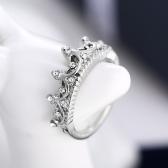 Mode Persönlichkeit Zubehör Korea Temperament Elegante Königin Krone Klare Kristalle Ring für Dame Mädchen