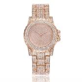 Arbeiten Sie Luxuxvolle Diamanten-Uhr-Kristall-Edelstahl-Band-Quarz-Uhr-Armband-Dame Elegant Dress Armbanduhr um