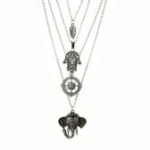 Osobowość moda Vintage wielowarstwowa biżuteria kołnierz długi naszyjnik wisiorek akcesoria dla kobiet i dziewcząt ze stopu cynku