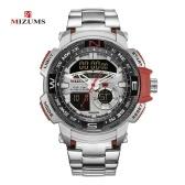 MIZUMS Men Watch Fashion Alloy Case Band Digital Watch Sports Waterproof Quartz Wrist Watch
