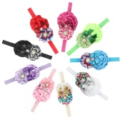 9Pcs Colorful Sweet Style Rose Flowers with Bead Crystal Headband Hairband Headwear Accessories for Girls Kids Infants Baby