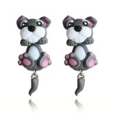Mode de bande dessinée mignonne chien boucles d'oreilles à la main en argile dames personnalisé boucles d'oreilles bijoux