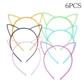 6 unids colores surtidos orejas de gato de las vendas de plástico Hairbands Hair Hoop Accesorios para el cabello lindo Headwear para mujeres niñas