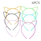 6 pcs Cores Sortidas Orelhas de Gato Headbands Hairbands de Cabelo de Plástico Aro Bonito Acessórios Para o Cabelo Headwear para Mulheres Meninas