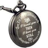 Black Retro Pocket Watch with Chain Necklace
