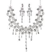 El collar pendiente cristalino del Rhinestone de las mujeres de moda de aleación de zinc que deslumbra y aretes de joyería nupcial conjunto para el banquete de boda de la novia del regalo