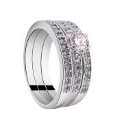 Mode einzigartige Heißes reizend weißes Gold überzog Zircon Strasskristall gepflasterte 3 runde Ringe Set Schmuck Zubehör für Frauen-Mädchen-Hochzeits-Geschenk-Partei-Verpflichtungs