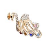 Anel da menina para as mulheres casamento banda banhado a ouro cristal strass pavão design metal liga de zinco