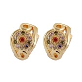 Moda lujo étnico 18K chapado en oro Rhinestone colorido cristal joyería del pendiente de aro para mujer niña boda