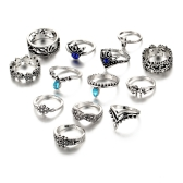 Fashion Retro 13Pcs Anello Set intagliato con incavo a forma di anello con diamante Lotus per ragazze
