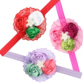 3Pcs Kids Baby Girls Toddlers Cute Flower Rose Lace Beads Headband Hairband Headwear Accessories for Infants