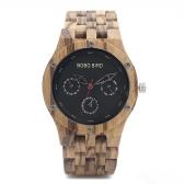BOBOBIRD Fashion Zebrawood Men Watches Quartz Wooden Casual Wristwatch Man Calendar