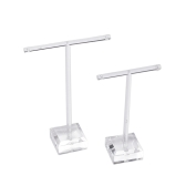 2 Bar T Suporte Holder Set Display Rack Jóias Organic Glass Lever for Earrings