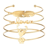 Moda 4szt bransoletka zestaw list miłość ładny porożer Kształt piór bransoletki otwarcie projekt kobiety osobowość biżuterii