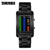 SKMEI retângulo água eletrônico LED relógio Digital resistente fantástico sólido relógio unissex com calendário