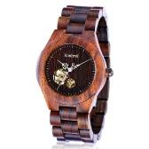 Kimbrel de moda estilo de los hombres de las mujeres unisex de madera de madera de sándalo mecánico automático de cuerda automática del reloj del reloj resistente al agua 10m