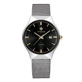 WWOOR 2016 Ultra Thin Dial Mode Mesh-Edelstahl-Uhr-Kalender-Quarz-analoge Mann-beiläufige Armbanduhr 30M Water-Proof + Watch