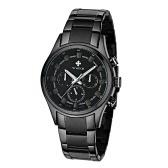 Manera de múltiples funciones WWOOR luminoso para hombre relojes de cuarzo analógico a prueba de agua del hombre de negocios Reloj de pulsera con 24H / Semana / fecha + caja de reloj