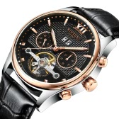 KINYUED Business Watch 3ATM Water-resistant Automatic Mechanical Men Watches Luminous Genuine Leather Wristwatch Male