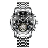 KINYUED Business Watch Automatic Mechanical 3ATM Water-resistant Watch Luminous Men Relógios de pulso Masculino Calendário